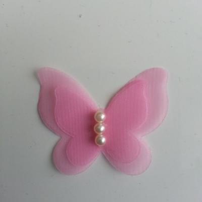 Applique double papillon  voile  et perle   45mm rose pale