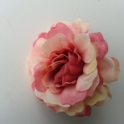 fleur artificielle en tissu peche et vieux rose 55mm