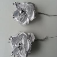 lot de 2 fleurs  artificielles en tissu  55mm sur tige argent