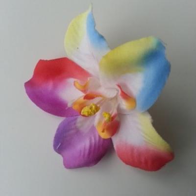 Orchidée  en tissu   70mm arc en ciel
