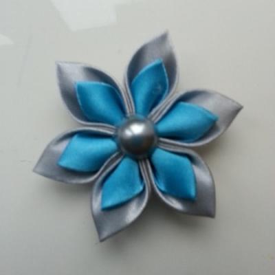 Fleur double en satin gris et bleu turquoise   5cm