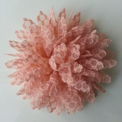 Applique fleur gauffrée pêche  85mm