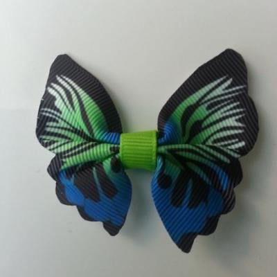 Noeud en tissu imitation papillon 57*52mm vert et bleu