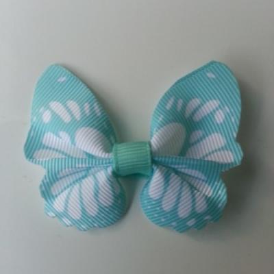Noeud en tissu imitation papillon 57*52mm blanc et vert pastel
