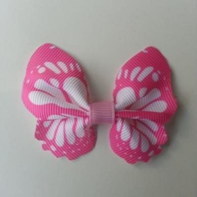 Noeud en tissu imitation papillon 57*52mm blanc et rose