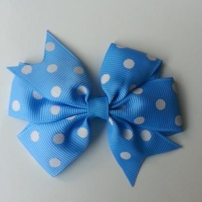 Gros noeud en ruban gros grain  80mm à pois bleu   et blanc