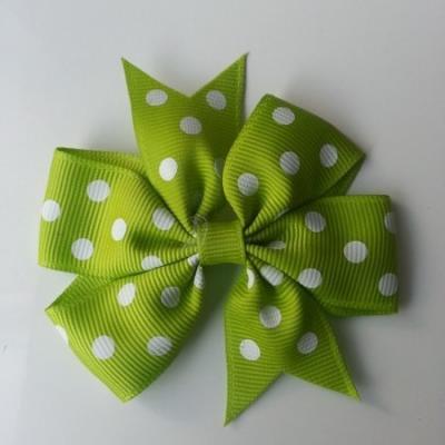 Gros noeud en ruban gros grain  80mm à pois vert   et blanc