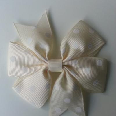 Gros noeud en ruban gros grain  80mm à pois ivoire   et blanc