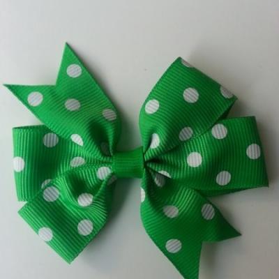 Gros noeud en ruban gros grain  80mm à pois vert foncé  et blanc