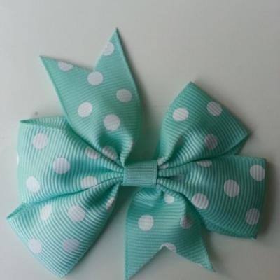 Gros noeud en ruban gros grain  80mm à pois vert  pastel et blanc