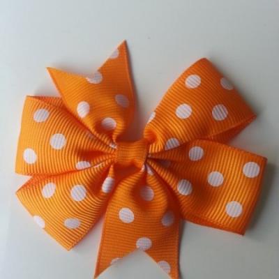 Gros noeud en ruban gros grain  80mm à pois orange   et blanc