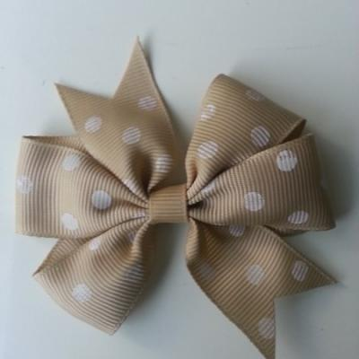 Gros noeud en ruban gros grain  80mm à pois beige   et blanc