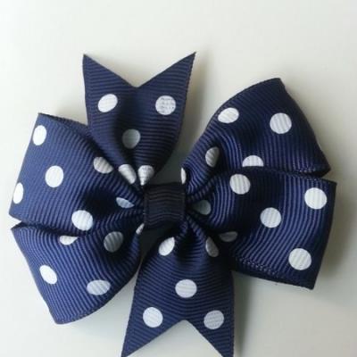 Gros noeud en ruban gros grain  80mm à pois bleu marine   et blanc