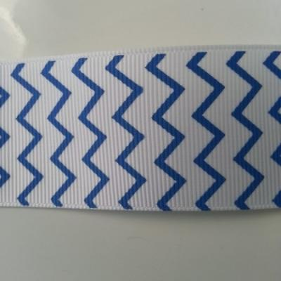 1 mètre de ruban gros grain blanc et bleu 38mm de largeur