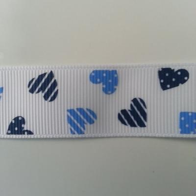 1 mètre de  ruban gros grain motif coeur bleu et blanc  22mm de largeur