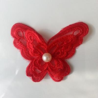 Double papillon en dentelle  65mm rouge