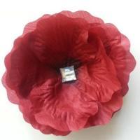 Fleur en tissu bordeaux et strass 90mm