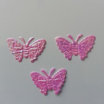 Lot de 3 papillons  en tissu irisé    32*21mm rose