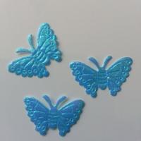 Lot de 3 papillons  en tissu irisé    32*21mm bleu