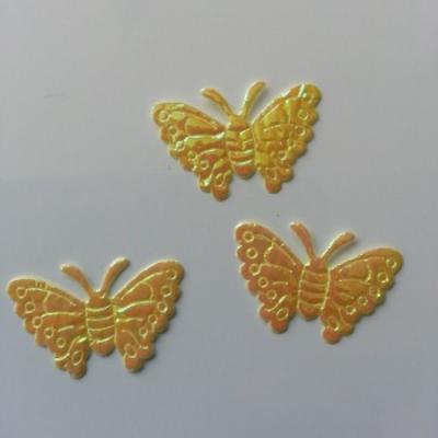 Lot de 3 papillons  en tissu irisé    32*21mm jaune