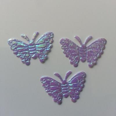 Lot de 3 papillons  en tissu irisé    32*21mm mauve