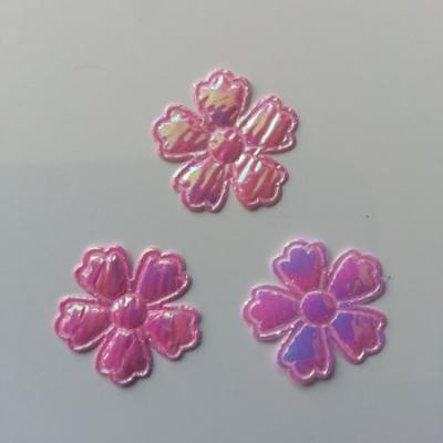 Lot de 3 fleurs  en tissu irisé    22mm rose