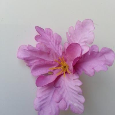 fleur orchidée  en tissu mauve 60mm