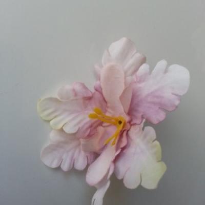 fleur orchidée  en tissu vieux rose 60mm