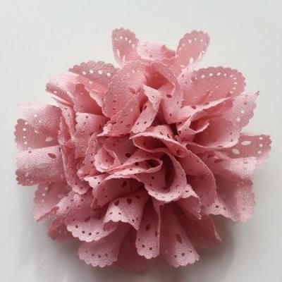 fleur dentelée en tissu vieux rose  80mm