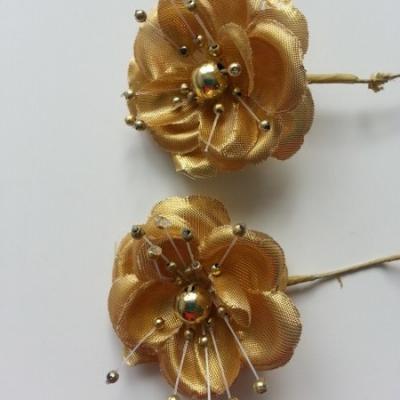 lot de 2 fleurs  artificielles en tissu  55mm sur tige doré, or