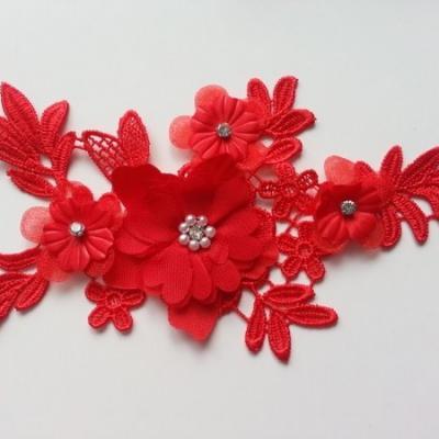 applique  en dentelle et fleur mousseline rouge  17*9cm