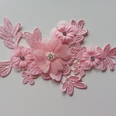 applique  en dentelle et fleur mousseline rose  17*9cm