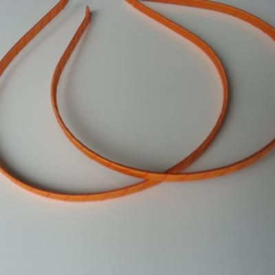 Serre tête métal recouvert de ruban gros grain orange
