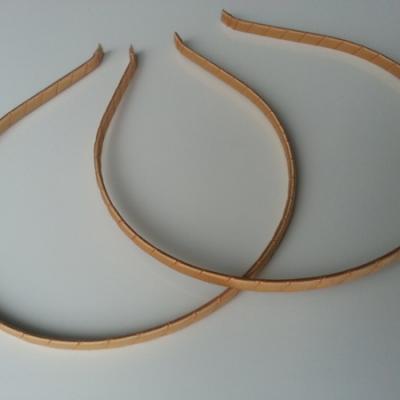 Serre tête métal recouvert de ruban gros grain beige