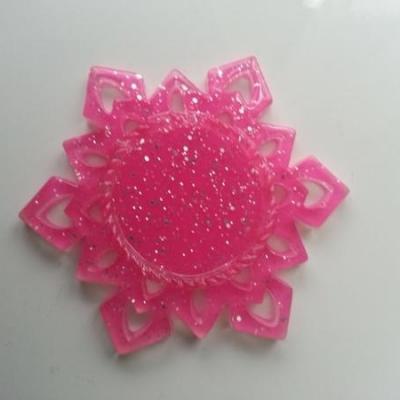 Support pour cabochon de 25mm  étoile en résine pailletée rose