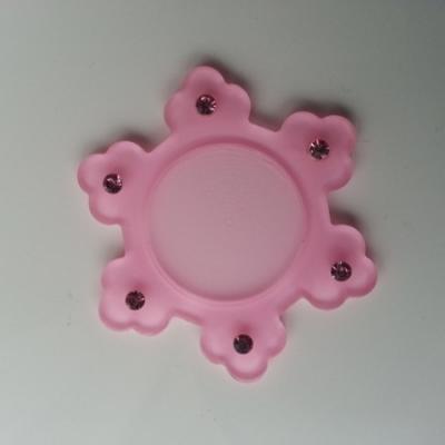 support pour cabochon  de 25mm en résine dos plat   etoile strass rose