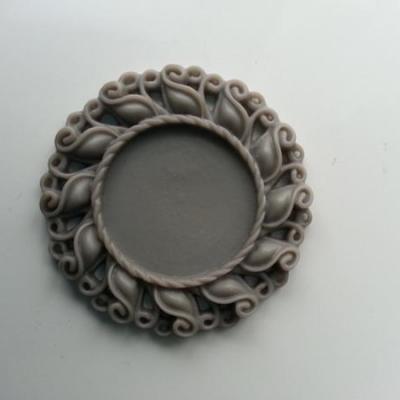 Support pour cabochon  de 25mm  en résine  42mm gris