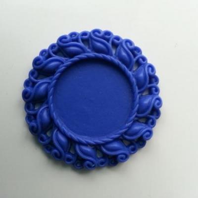 Support pour cabochon  de 25mm  en résine  42mm bleu royal