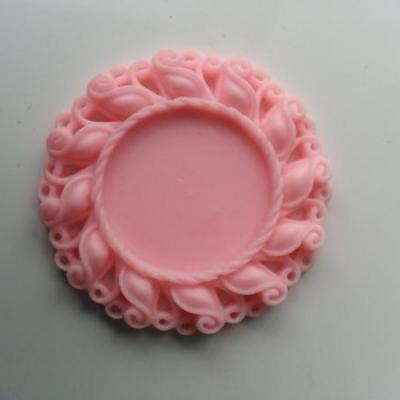 Support pour cabochon  de 25mm  en résine  42mm rose