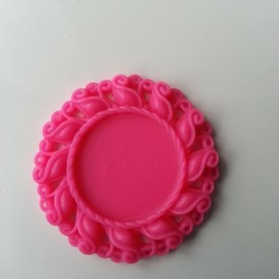 Support pour cabochon  de 25mm  en résine  42mm rose fuchsia