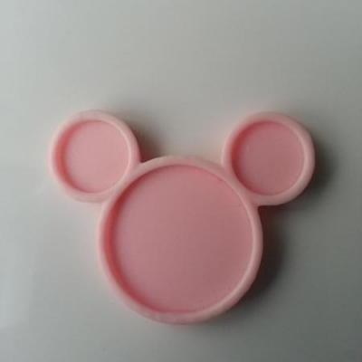 Support pour cabochon de 25mm   en résine  tête de souris minnie rose