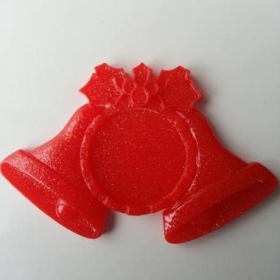support pour cabochon  de 25mm en résine dos plat rouge cloche noel