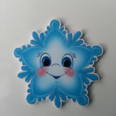 cabochon plat en résine étoile de noel  sourire bleu et blanche 45mm
