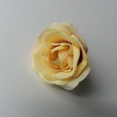fleur en tissu 40mm ivoire et prune