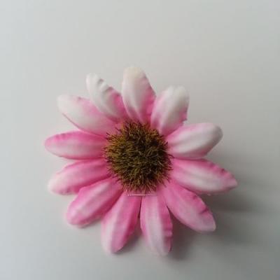 fleur marguerite artificielle en tissu 45mm rose et blanc