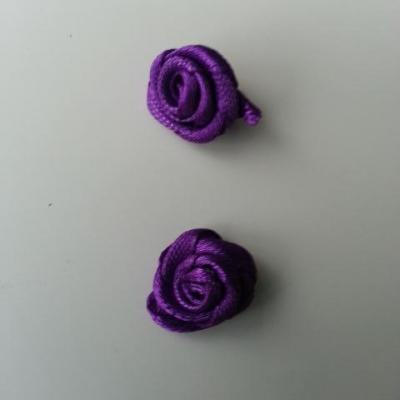 Lot de 2  minis roses en satin 10 à 15mm violet