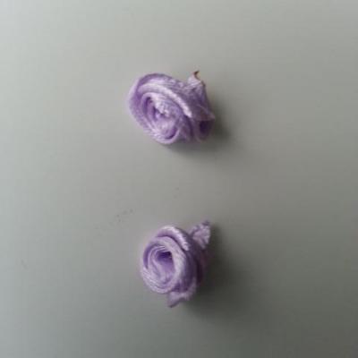 Lot de 2  minis roses en satin 10 à 15mm mauve