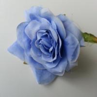 rose artificielle  en tissu bleu 70mm