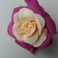 rose artificielle  en tissu peche et prune 70mm