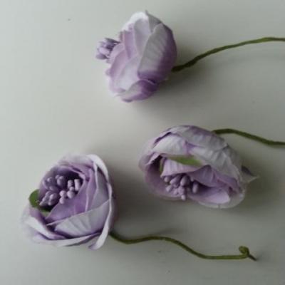 fleurs artificielles en tissu et pistils mauve  sur tige lot de 3